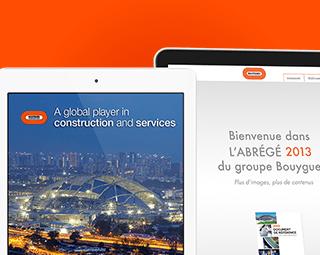 Prestimedia vous présente ses références de solutions digitales : rapport interactif et Apps Bouygues SA