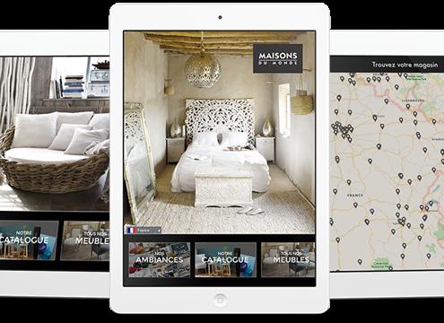 Application tablette Maisons du Monde réalisée par Prestimedia